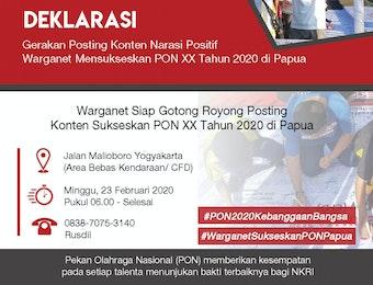 Warganet Dukung PON 2020 Sebagai Momentum Pembangunan Papua Menuju Indonesia Maju