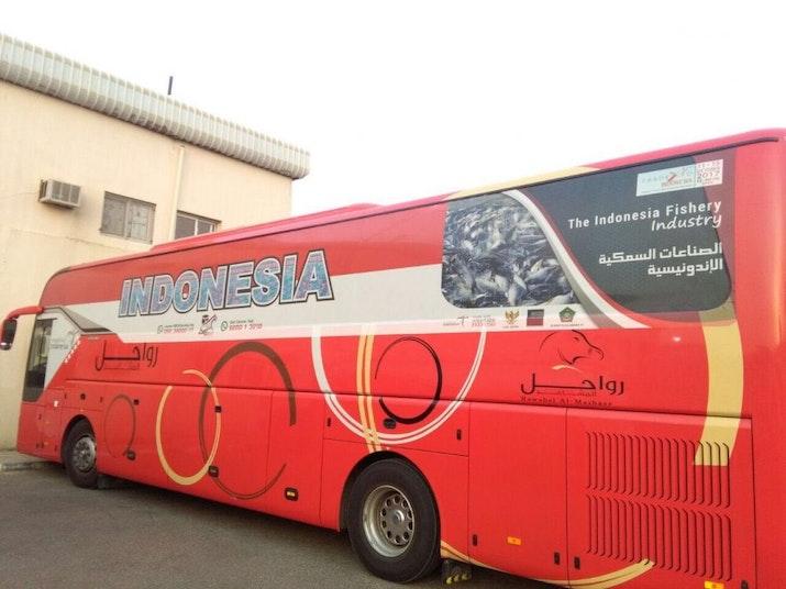 Begini Penampakan Promosi Indonesia pada Angkutan Bus Jamaah Haji
