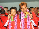 Kepulangan Peraih Emas Olimpiade Rio 2016 Disambut Meriah di Terminal 3 Soeta
