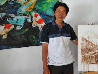 Yudi Purbaya, Ubah Bubuk Kopi Menjadi Lukisan Berkarya Seni Tinggi